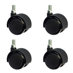 "set of 4: 2"" office chair casters - metric 10mm threaded - soft tread"