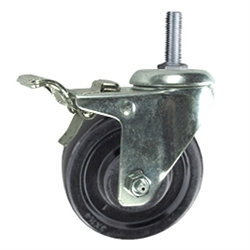 Total Capacity Service Caster Set of 4 3 Inch Swivel Thermoplastic Rubber Casters and 8mm 440 lbs 1.25 TPI x 1.5 Threaded Stem