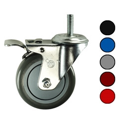 """Pack of 4 Swivel Casters w// 4/"""" Hard  Rubber Wheels and 7//16/"""" Grip Ring Stems"""