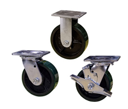 Green Polyurethane on cast iron core wheel heavy casters