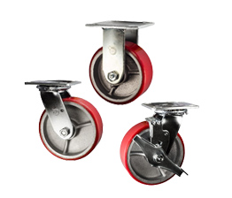 red poly on cast iron core casters