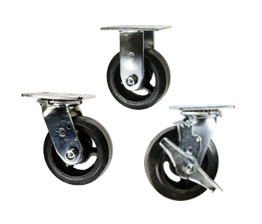 rubber tread on cast iron core casters