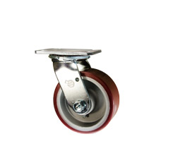 polyurethane tread on cast aluminum core casters