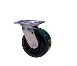 Green Polyurethane on cast iron core wheel casters